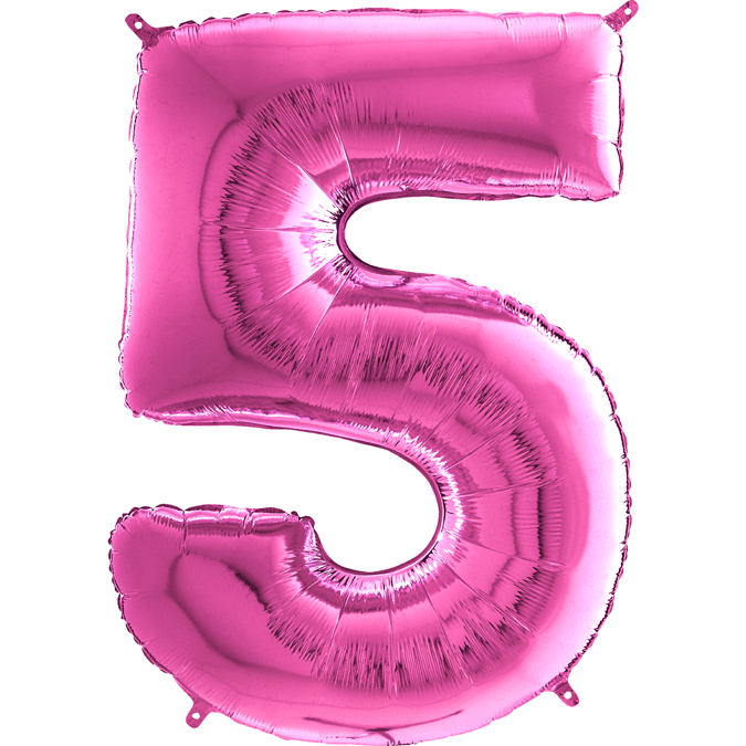 "26"" Midsize Foil Shape Balloon Number 5 Fuschia"