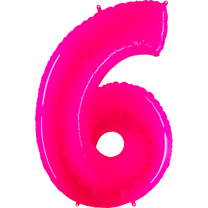 "40"" Foil Shape Balloon Number 6 Fluorescence Pink"