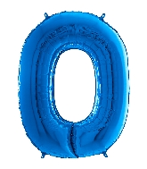"26"" Midsize Foil Shape Balloon Number 0 Blue"