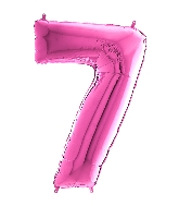"26"" Midsize Foil Shape Balloon Number 7 Fuschia"