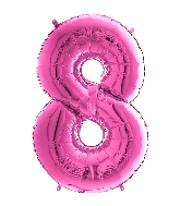 "26"" Midsize Foil Shape Balloon Number 8 Fuschia"