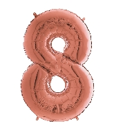 "26"" Midsize Foil Shape Balloon Number 8 Rose Gold"