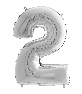 "26"" Midsize Foil Shape Balloon Number 2 Silver"
