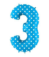 "40"" Foil Shape Balloon Number 3 Baby Blue Dots"