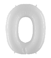"40"" Foil Shape Balloon Number 0 Bright White"