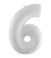 "40"" Foil Shape Balloon Number 6 Bright White"