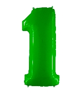 "40"" Foil Shape Balloon Number 1 Fluorescence Lime"
