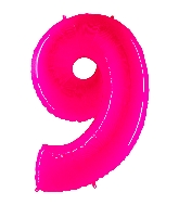 "40"" Foil Shape Balloon Number 9 Fluorescence Pink"