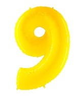 "40"" Foil Shape Balloon Number 9 Fluorescence Yellow"