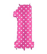 "40"" Foil Shape Balloon Number 1 Baby Pink Dots"
