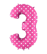 "40"" Foil Shape Balloon Number 3 Baby Pink Dots"