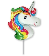 "14"" Airfill Only Mini Shape Unicorn Rainbow Balloon"