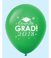 "11"" Congrats Grad 2018 Latex Balloons 25 Count Green"