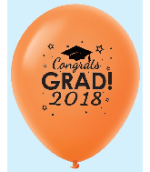 "11"" Congrats Grad 2018 Latex Balloons 25 Count Orange"