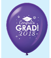 "11"" Congrats Grad 2018 Latex Balloons 25 Count Purple"