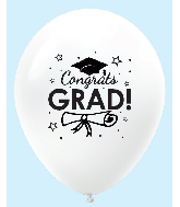 "11"" Congrats Grad Latex Balloons 25 Count White"