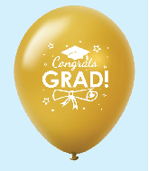 "11"" Congrats Grad Latex Balloons 25 Count Gold"