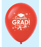 "11"" Congrats Grad Latex Balloons 25 Count Red"