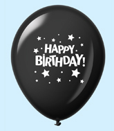 "11"" HB Stars Latex Balloons Black (25 Per Bag)"