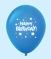 "11"" HB Stars Latex Balloons Blue (25 Per Bag)"