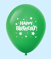 "11"" HB Stars Latex Balloons Green (25 Per Bag)"
