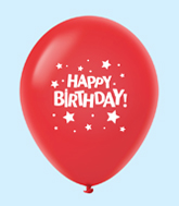 "11"" HB Stars Latex Balloons Red (25 Per Bag)"