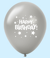 "11"" HB Stars Latex Balloons Silver (25 Per Bag)"
