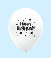 "11"" HB Stars Latex Balloons White (25 Per Bag)"