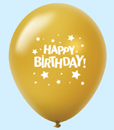 "11"" HB Stars Latex Balloons Gold (25 Per Bag)"