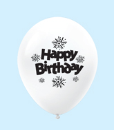 "11"" HB Streamers Latex Balloons White (25 Per Bag)"
