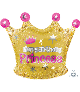 "18"" Happy Birthday Gold Crown Foil Balloon"