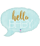 "24"" Foil Shape Hello Baby - Blue Foil Balloon"