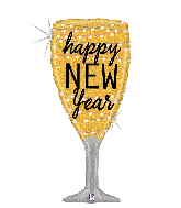 "37"" Holographic New Year Champagne Glass Foil Balloon"