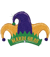 "42"" Holographic Mardi Gras Jester Hat Foil Balloon"