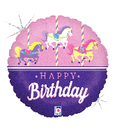 "18"" Holographic Carousel Birthday Foil Balloon"