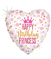 "18"" Holographic Glitter Birthday Princess Foil Balloon"