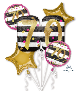 Bouquet Pink & Gold Milestone 70 Foil Balloon