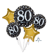 Bouquet Sparkling Birthday 80 Foil Balloon