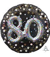 "36"" Multi Balloon Sparkling Birthday 80 Foil Balloon"