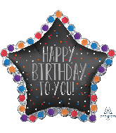"34"" Jumbo Happy Birthday to You Satin Star Foil Balloon"