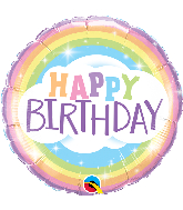 "18"" Round Birthday Rainbow Foil Balloon"