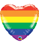 "18"" Heart Rainbow Stripes Foil Balloon"