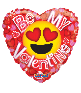 "18"" Be My Val Smiley Gellibean Foil Balloon"