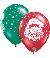 "11"" Red, Green Santa Latex Balloons 50 Count"