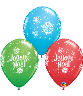 "11"" Joyeux Noel Red, Green, Lime 50 Count Latex Balloons"