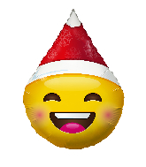 "12"" Airfill Only Smiley With Christmas Hat Foil Balloon"