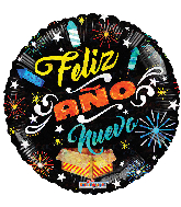 "18"" Año Nuevo Fireworks Holographic Foil Balloon"