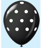 "11"" Polka Dots Latex Balloons 25 Count Black"