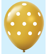 "11"" Polka Dots Latex Balloons 25 Count Gold"
