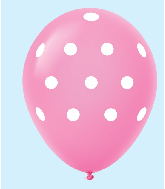 "11"" Polka Dots Latex Balloons 25 Count Magenta"